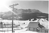 Winter view of north end of Trout Lake near dam.  Gate house is seen at edge of lake.<br /> RGS  Trout Lake, CO