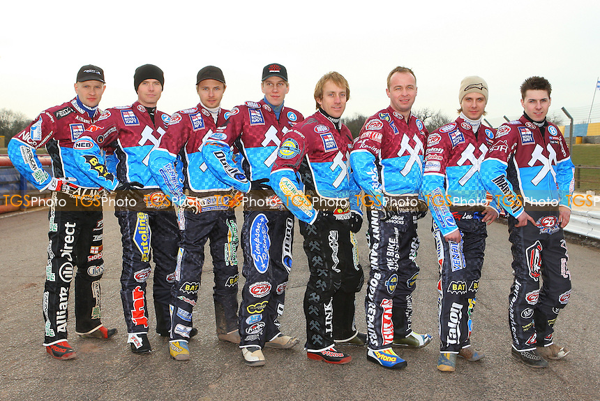 Lakeside Hammers riders pose for a team photograph - Lakeside Hammers Speedway Press & Practice at Arena Essex Raceway - 17/03/10 - MANDATORY CREDIT: Gavin Ellis/TGSPHOTO - Self billing applies where appropriate - Tel: 0845 094 6026