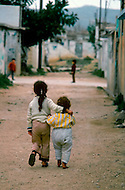 March 1982, Lebanon: in  Ain Elhellowi (near Saïda) Palestinian children playing in the streets.