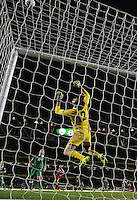 07/09/2015; UEFA Euro 2016 Group D Qualifier - Republic of Ireland v Georgia, Aviva Stadium, Dublin. <br /> Georgia goalkeeper Nukri Revishvili saves from Ireland's Seamus Coleman shot.<br /> Picture credit: Tommy Grealy/actionshots.ie.