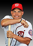 25 February 2011: Washington Nationals' catcher Ivan Rodriguez poses for his Photo Day portrait at Space Coast Stadium in Viera, Florida. Mandatory Credit: Ed Wolfstein Photo