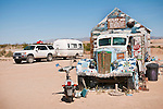 Casita travel trailer and 1939 White truck painted by Leonard Knight at his Salvation Mountain, near Niland, Calif.