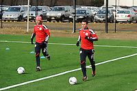 Stephen Keel (22) and Matt Kassel (15)during a New York Red Bulls practice on the campus of Montclair State University in Upper Montclair, NJ, on July 16, 2012.