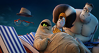 Griffin the Invisible Man (David Spade), Mummy (Keegan-Michael Key), Eunice (Fran Dresher) and Frank (Kevin James) in Hotel Transylvania 3: Summer Vacation (2018) <br /> *Filmstill - Editorial Use Only*<br /> CAP/RFS<br /> Image supplied by Capital Pictures
