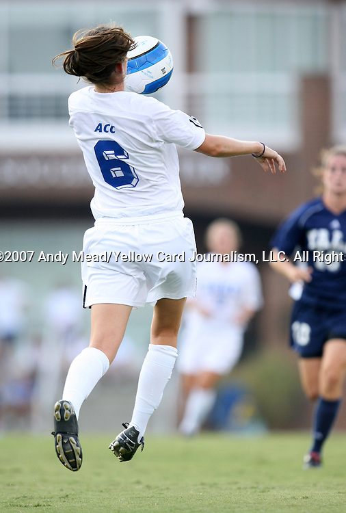07 September 2007: Duke's Kelly Hathorn. The Duke University Blue Devils defeated the Yale University Bulldogs 1-0 at Fetzer Field in Chapel Hill, North Carolina in an NCAA Division I Women's Soccer game, and part of the annual Nike Carolina Classic tournament.