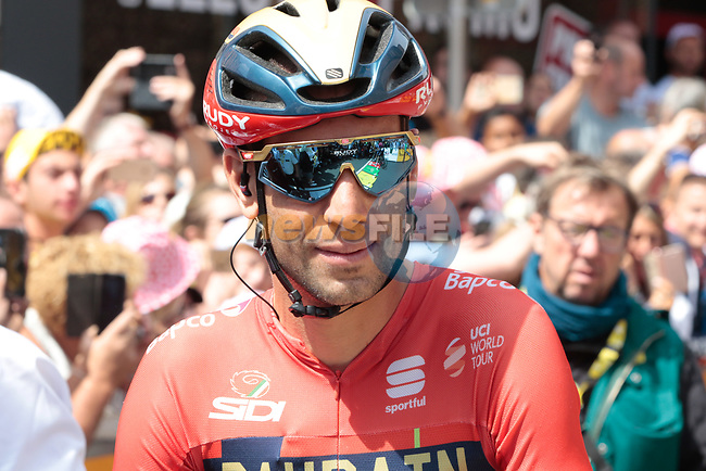 Vincenzo Nibali (ITA) Bahrain-Merida waits for the start of Stage 3 of the 2019 Tour de France running 215km from Binche, Belgium to Epernay, France. 8th July 2019.<br /> Picture: Colin Flockton | Cyclefile<br /> All photos usage must carry mandatory copyright credit (© Cyclefile | Colin Flockton)