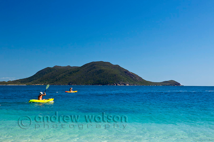 Kayaker off the coast of Fitzroy Island.  Fitzroy Island National Park, Cairns, Queensland, Austtralia