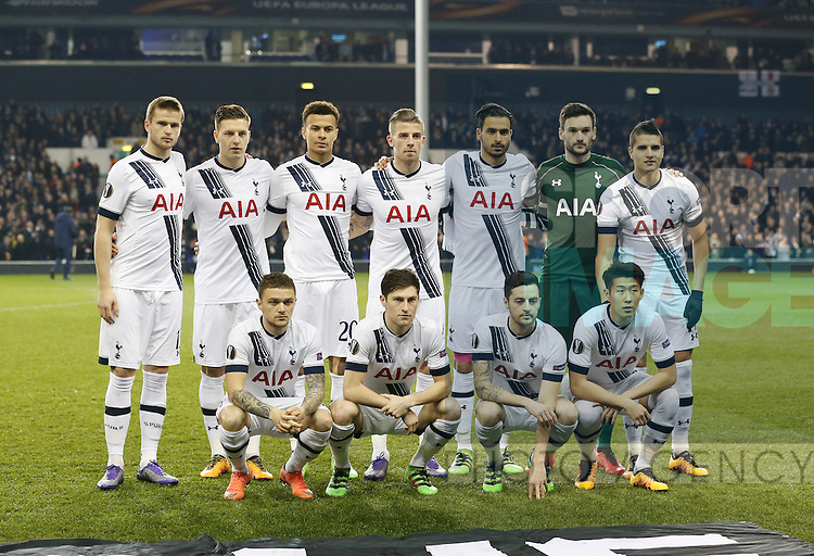 Tottenham's team group during the Europa League match at White Hart Lane Stadium.  Photo credit should read: David Klein/Sportimage