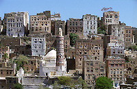 Mosque and housing in the ancient town of Jiblah, once a centre of Islamic learning and a wealthy trading town on one of the main routes between Sana'a and the southern coast.