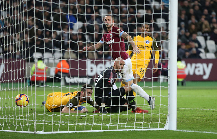 West Ham United's Marko Arnautovic scores his side's first goal  <br /> <br /> Photographer Rob Newell/CameraSport<br /> <br /> The Premier League - West Ham United v Brighton and Hove Albion - Wednesday 2nd January 2019 - London Stadium - London<br /> <br /> World Copyright © 2019 CameraSport. All rights reserved. 43 Linden Ave. Countesthorpe. Leicester. England. LE8 5PG - Tel: +44 (0) 116 277 4147 - admin@camerasport.com - www.camerasport.com