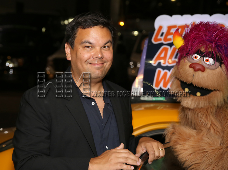 Robert Lopez and Trekki Monster taking the 'Avenue Q' - 15th Anniversary Performance Taxi Cab at New World Stages on July 31, 2018 in New York City.