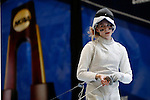 25 MAR 2016:  Ohio State's Eleanor Harvey during a quiet moment during her victory in the women's foil event at the Division I Women's Fencing Championship is held at the Gosman Sports and Convention Center in Waltham, MA.   Damian Strohmeyer/NCAA Photos