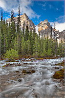 From high mountain snows, this river flows into Moraine Lake in Banff National Park. The landscapes and views from this area are amazing, and it is hard to take a bad image from anywhere in this portion of the Rocky Mountains.