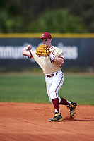 Boston College Eagles second baseman Jake Palomaki (11) throws to first base during a game against the Central Michigan Chippewas on March 3, 2017 at North Charlotte Regional Park in Port Charlotte, Florida.  Boston College defeated Central Michigan 5-4.  (Mike Janes/Four Seam Images)