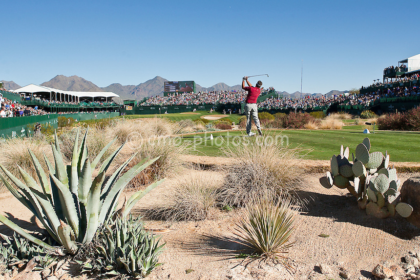 Jan 31, 2009; Scottsdale, AZ, USA;  Kenny Perry (USA) hits his tee shot on the 16th hole.  Perry would take the 54-hole lead at the conclusion of the third round of the FBR Open at the TPC Scottsdale.