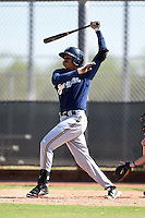 Milwaukee Brewers shortstop Gilbert Lara (70) during an Instructional League game against the San Francisco Giants on October 10, 2014 at Maryvale Baseball Park Training Complex in Phoenix, Arizona.  (Mike Janes/Four Seam Images)