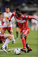 Patrick Nyarko (14) of the Chicago Fire during the first half of a Major League Soccer match between the New York Red Bulls and the Chicago Fire at Red Bull Arena in Harrison, NJ, on March 27, 2010. The Red Bulls defeated the Fire 1-0.