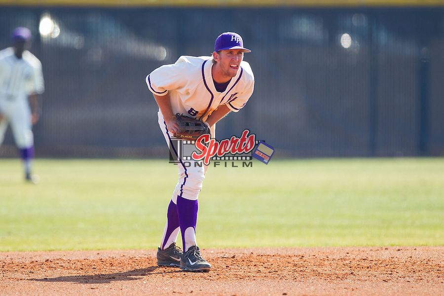 High Point Panthers shortstop Tony Fortier-Bensen (8) on defense against the Bowling Green Falcons at Willard Stadium on March 9, 2014 in High Point, North Carolina.  The Falcons defeated the Panthers 7-4.  (Brian Westerholt/Sports On Film)