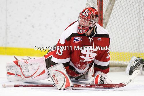 David Grilk (St. Lawrence - 33) - The Harvard University Crimson defeated the St. Lawrence University Saints 4-3 on senior night Saturday, February 26, 2011, at Bright Hockey Center in Cambridge, Massachusetts.