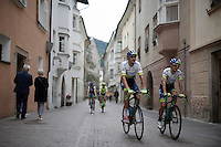 Ruben Plaza (ESP/Orica-GreenEDGE) &amp; Amets Txurruka (ESP/Orica-GreenEDGE) on their way to the start<br /> <br /> stage 16: Bressanone/Brixen - Andalo 132km<br /> 99th Giro d'Italia 2016