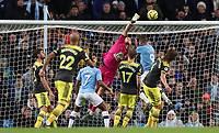 2nd November 2019; Etihad Stadium, Manchester, Lancashire, England; English Premier League Football, Manchester City versus Southampton; Alex McCarthy of Southampton punches the ball clear under pressure from<br /> Gabriel Jesus of Manchester City but it falls to Kyle Walker whos cores the games winner - Strictly Editorial Use Only. No use with unauthorized audio, video, data, fixture lists, club/league logos or 'live' services. Online in-match use limited to 120 images, no video emulation. No use in betting, games or single club/league/player publications