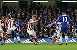Chelsea's Willian scoring his sides second goal during the Premier League match at Stamford Bridge Stadium, London. Picture date December 31st, 2016 Pic David Klein/Sportimage