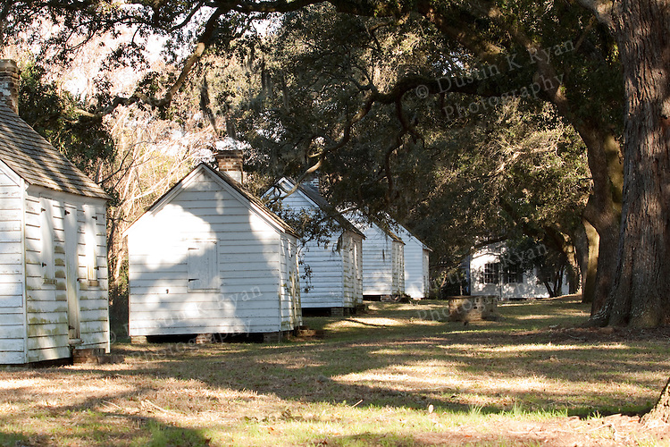 McLeod Plantation on James Island South Carolina with Live Oak Trees, spanish Moss and Historic Slave Houses