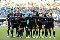 San Jose, CA - Saturday August 05, 2017: San Jose Earthquakes Starting Eleven prior to a Major League Soccer (MLS) match between the San Jose Earthquakes and the Columbus Crew at Avaya Stadium.