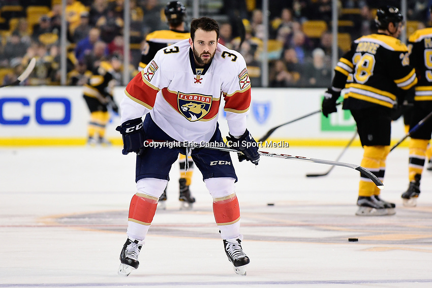Monday, December 5, 2016: Florida Panthers defenseman Keith Yandle (3) warms up before the start of the National Hockey League game between the Florida Panthers and the Boston Bruins held at TD Garden, in Boston, Mass. Boston defeats Florida 4-3 in overtime. Eric Canha/CSM