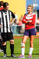 London, UK on Sunday 31st August, 2014. Rachel Riley after hurting her knee during the Soccer Six charity celebrity football tournament at Mile End Stadium, London.