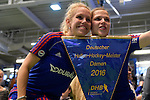 GER - Luebeck, Germany, February 07: Players of Mannheimer HC present and pose with the trophy after winning the Deutsche Meisterschaft during the prize giving ceremony at the Final 4 on February 7, 2016 at Hansehalle Luebeck in Luebeck, Germany. (Photo by Dirk Markgraf / www.265-images.com) *** Local caption *** Lydia Haase #12 of Mannheimer HC and Vera Battenberg #64 of Mannheimer HC pose with the Blauer Wimpel after defeating Duesseldorfer HC