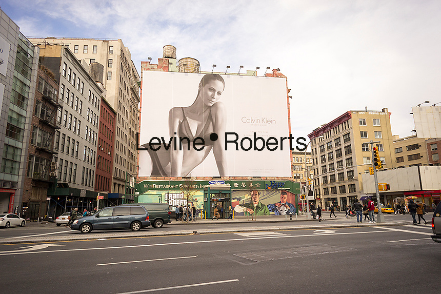 A Calvin Klein billboard in the Soho neighborhood of New York on Saturday, November 23, 2013. Klein's advertisements use sex and provocative images to test society's cultural and moral boundaries. (© Richard B. Levine)