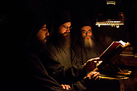 Mount Athos - The Holy Mountain.<br /> Monks pray at a midnight service.<br /> <br /> Photographer: Rick Findler
