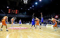 Lindsay Tait shoots a three-pointer during the national basketball league final  between Wellington Saints and Southland Sharks at TSB Bank Arena in Wellington, New Zealand on Sunday, 5 August 2018. Photo: Dave Lintott / lintottphoto.co.nz