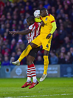 Lincoln City's John Akinde vies for possession with Northampton Town's Hakeem Odoffin<br /> <br /> Photographer Andrew Vaughan/CameraSport<br /> <br /> Emirates FA Cup First Round - Lincoln City v Northampton Town - Saturday 10th November 2018 - Sincil Bank - Lincoln<br />  <br /> World Copyright &copy; 2018 CameraSport. All rights reserved. 43 Linden Ave. Countesthorpe. Leicester. England. LE8 5PG - Tel: +44 (0) 116 277 4147 - admin@camerasport.com - www.camerasport.com