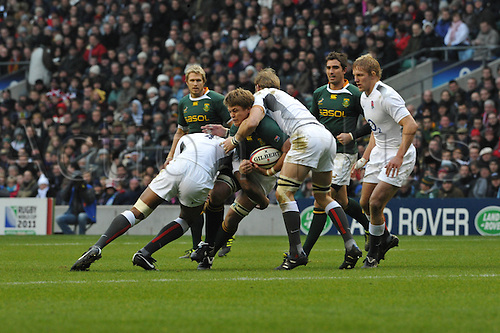 27.11.10  Juan Smith flanker of South Africa and the Cheetahsin action during the Investec rugby  International between England and South Africa at Twickenham Stadium London