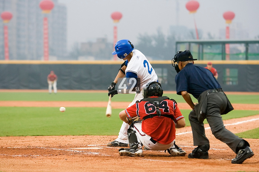 20 August 2007: #2 Sebastien Herve connects for a hit during the Czech Republic 6-1 victory over France in the Good Luck Beijing International baseball tournament (olympic test event) at the Wukesong Baseball Field in Beijing, China.