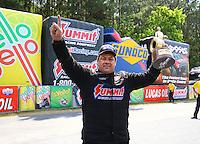 May 17, 2015; Commerce, GA, USA; NHRA pro mod driver Kenny Lang celebrates after winning the Southern Nationals at Atlanta Dragway. Mandatory Credit: Mark J. Rebilas-USA TODAY Sports