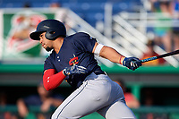 State College Spikes designated hitter Stanley Espinal (21) at bat during a game against the Batavia Muckdogs on July 9, 2018 at Dwyer Stadium in Batavia, New York.  State College defeated Batavia 3-0.  (Mike Janes/Four Seam Images)