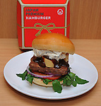 December 27, 2011, Tokyo, Japan - Foie Gras Rossini with original foie gras terrine is one of four types of Japan Premium products Wendys hamburger restaurant offers as the American fast-food chain reopens its door in Japan with the launch of its first eatery at Tokyos bustling Omotesando area on Tuesday, December 27, 2011. (Photo by Natsuki Sakai/AFLO) [3615] -mis-