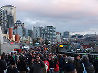 A festival was held on the Alaskan Way Viaduct in Seattle, Wash. on February 2, 2019. The two-mile-long tunnel and the viaduct were open between the Battery Street Tunnel and Seneca Street so people could walk the roadways for the last time. The walk was part of the grand opening celebration for the State Route 99 tunnel through downtown Seattle. (photo copyright Karen Ducey)