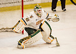 20 January 2017: University of Vermont Catamount Goaltender Stefanos Lekkas, a Freshman from Elburn, IL, in third period action without his stick during a game against the University of Connecticut Huskies at Gutterson Fieldhouse in Burlington, Vermont. The Catamounts held onto their lead throughout the game to defeat the Huskies 5-4 in Hockey East play. Mandatory Credit: Ed Wolfstein Photo *** RAW (NEF) Image File Available ***