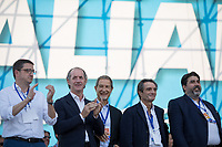 """(From L to R) Maurizio Fugatti, Luca Zaia, Nello Musumeci, Attilio Fontana & Christian Solinas.<br /> <br /> Rome, 19/10/2019. Today, tens thousands of people (200,000 for the organisers, 50,000 for the police) gathered in Piazza San Giovanni to attend the national demonstration """"Orgoglio Italiano"""" (Italian Pride) of the far-right party Lega (League) of Matteo Salvini. The demonstration was supported by Silvio Berlusconi's party Forza Italia and Giorgia Meloni's party Fratelli d'Italia (Brothers of Italy, right-wing).  <br /> The aim of the rally was to protest against the Italian coalition Government (AKA Governo Conte II, Conte's Second Government, Governo Giallo-Rosso, 1.) lead by Professor Giuseppe Conte. The 66th Government of Italy is a coalition between Five Star Movement (M5S, 2.), Democratic Party (PD – Center Left, 3.), and Liberi e Uguali (LeU – Left, 4.), these last two parties replaced Lega / League as new members of a coalition based on Parliamentarian majority as stated in the Italian Constitution. The Governo Conte I (Conte's First Government, 5.) was 14-month-old when, between 8 and 9 of August 2019, collapsed after the Interior Minister Matteo Salvini withdrew his euroskeptic, anti-migrant, right-wing Lega / League (6.) from the populist coalition in a pindaric attempt (miserably failed) to trigger a snap election.<br /> <br /> Footnotes & Links:<br /> 1. http://bit.do/feK6N<br /> 2. http://bit.do/e7JLx<br /> 3. http://bit.do/e7JKy<br /> 4. http://bit.do/e7JMP<br /> 5. http://bit.do/e7JH7<br /> 6. http://bit.do/eE7Ey<br /> https://www.leganord.org<br /> http://bit.do/feK9X (Source, TheGuardian.com)<br /> Reportage: """"La Fabbrica Della Paura"""" (The Factory of Fear): http://bit.do/feLcy (Source Report, Rai.it - ITA)<br /> (Update) Reportage: """"La Fabbrica Social Della Paura"""" (The Social Network Factory of Fear): http://bit.do/fe8Pn (Source Report, Rai.it - ITA)"""
