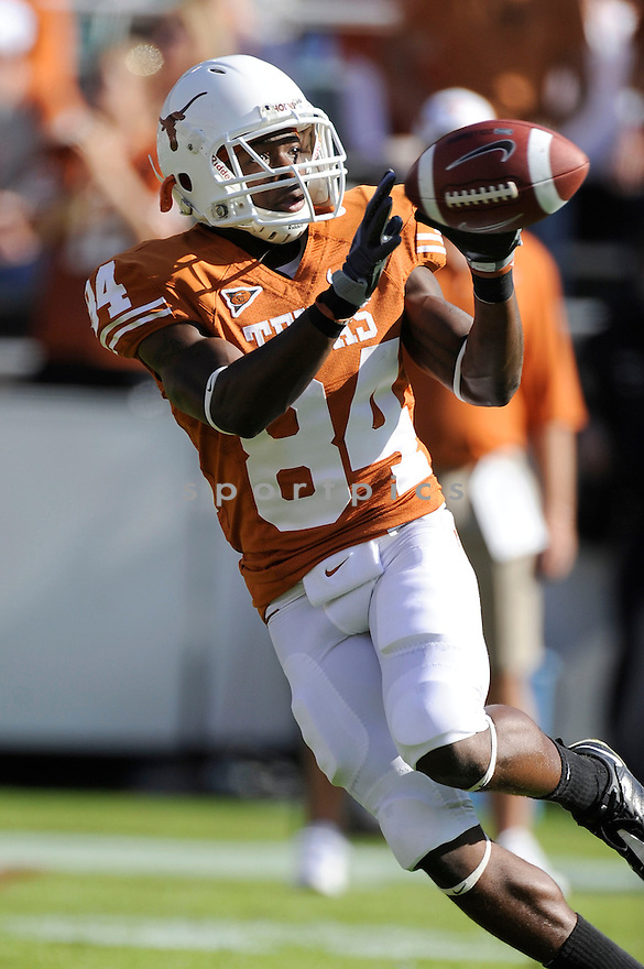 Texas Longhorns Marquis Goodwin (84) in action during a game against Oklahoma on October 17, 2009 at the Cotton Bowl in Dallas, TX. Texas beat Oklahoma 16-13.