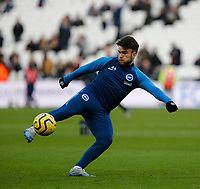 1st February 2020; London Stadium, London, England; English Premier League Football, West Ham United versus Brighton and Hove Albion; Aaron Connolly of Brighton and Hove Albion during the warm up
