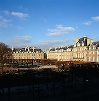 View over the Place des Vosges in Paris from a window of the apartment