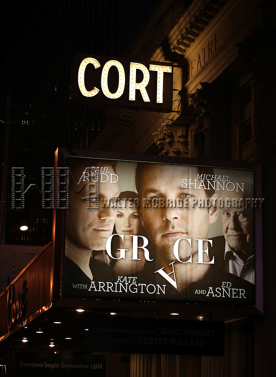 Theatre Marquee for the Opening Night Performance Curtain Call for 'Grace' at the Cort Theatre in New York City on 10/4/2012.