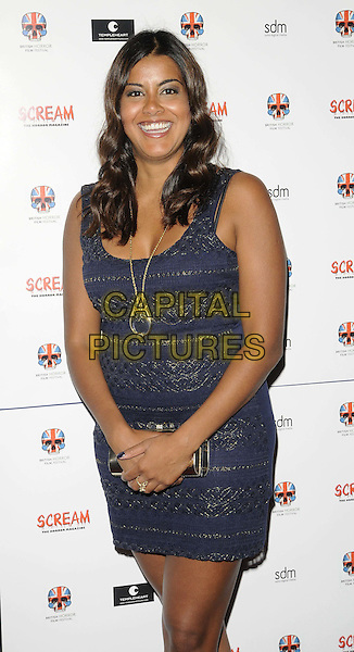 """Pooja Shah.attended the """"Stalker"""" UK film premiere, Empire cinema, Leicester Square, London, England, 15th October 2011..half length blue dress gold necklace sleeveless .CAP/CAN.©Can Nguyen/Capital Pictures."""