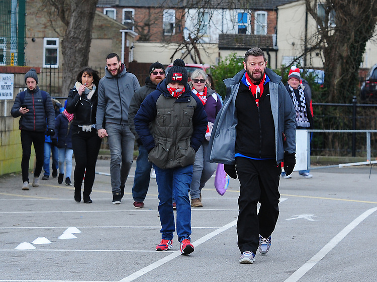 Lincoln City fans arriving at the game<br /> <br /> Photographer Andrew Vaughan/CameraSport<br /> <br /> The EFL Sky Bet League Two - Lincoln City v Grimsby Town - Saturday 19 January 2019 - Sincil Bank - Lincoln<br /> <br /> World Copyright &copy; 2019 CameraSport. All rights reserved. 43 Linden Ave. Countesthorpe. Leicester. England. LE8 5PG - Tel: +44 (0) 116 277 4147 - admin@camerasport.com - www.camerasport.com