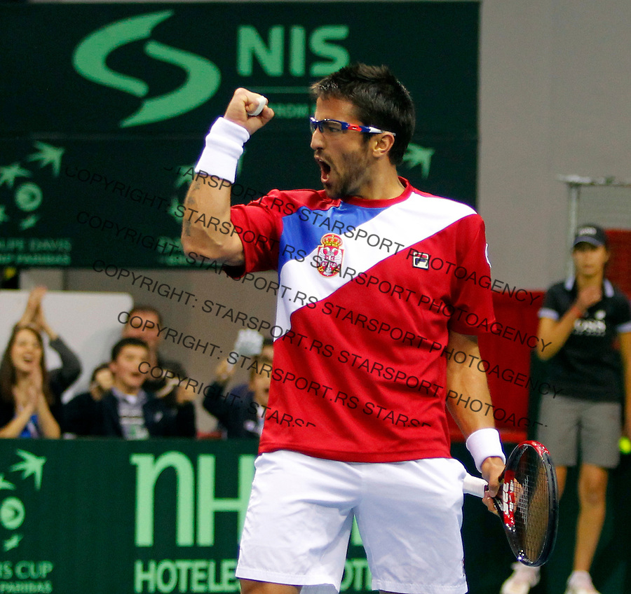 Davis Cup, World Group, 1st Round, Serbia - Sweden, Janko Tipsarevic (SRB) - Filip Prpic (SWE), Nis, Serbia, Friday, February 10, 2011.  (photo: Pedja Milosavljevic / thepedja@gmail.com / +381641260959)